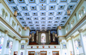 Square details on ceiling of church.