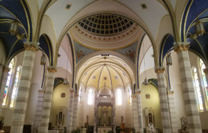 Beautiful vaulted ceilings in church.
